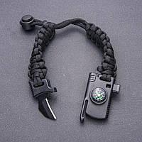 Браслет выживания мужской из черного паракорда с ножом и компасом на затяжке L-20-26см b-2см купить оптом в