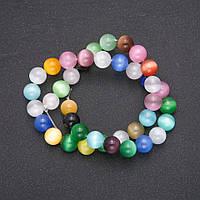 Бусины на нитке Кошачий Глаз Ассорти гладкий шарик d-10(+-)мм L-38см купить оптом в интернет магазине