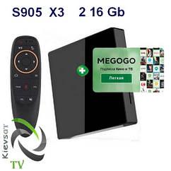 TV BOX X3  light | 2 16Gb +  MEGOGО  Кино И ТВ | пульт G10S ( Микрофон Air Mouse Гироскоп )