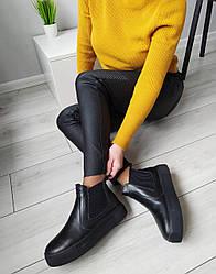 Челси ботинки женские черные натуральная кожа 38