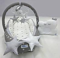 Кокон гнездышко для новорожденного с дугами, кокон-позиционер с дугами + ортопедическая подушка