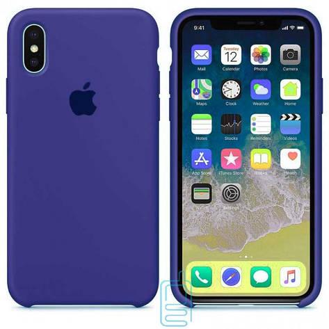 Чехол Silicone Case Apple iPhone X, XS синий 44, фото 2