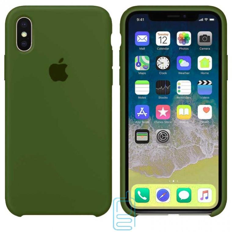 Чехол Silicone Case Apple iPhone XS Max темно-зеленый 45