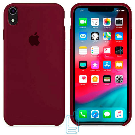 Чехол Silicone Case Apple iPhone XR темно-бордовый 42, фото 2