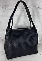 731 Натуральная кожа, Сумка женская черная с тиснением 3D кожаная черная женская сумка мягкая на плечо, фото 2