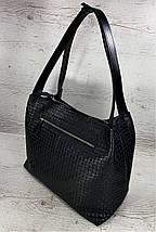 731 Натуральная кожа, Сумка женская черная с тиснением 3D кожаная черная женская сумка мягкая на плечо, фото 3