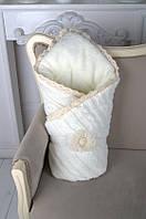 Вязаный конверт на выписку одеяло молочный на махре, фото 1