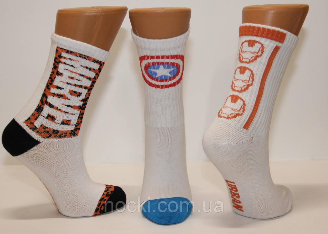 Жіночі шкарпетки середні ТЕНІС НЛ з написами 18-19 см 36-40 білий MARVEL.,капітан Америка,залізна чє