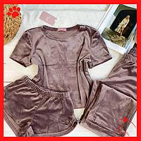 Пижама женская легкая с шортиками домашний набор для девушек коричневая пижама дома домашняя одежда для сна