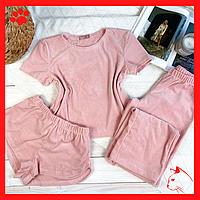 Пижама женская легкая с шортиками домашний набор для девушек пудровая пижама домашняя одежда для сна