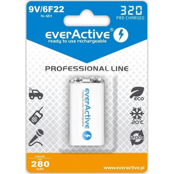 Акумулятор everActive 6LR61 320mAh BL 1шт