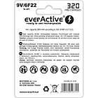 Акумулятор everActive 6LR61 320mAh BL 1шт, фото 2