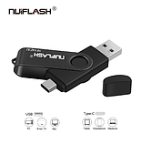 USB OTG флешка Nuiflash 128 Gb type-c - USB A Цвет Синий для телефона и компьютера, фото 3