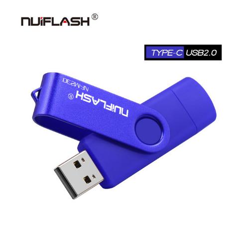 USB OTG флешка Nuiflash 128 Gb type-c - USB A Цвет Синий для телефона и компьютера