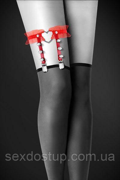 Сексуальна підв6962язка з сердечком на ногу Bijoux Pour Toi - WITH HEART AND SPIKES Red