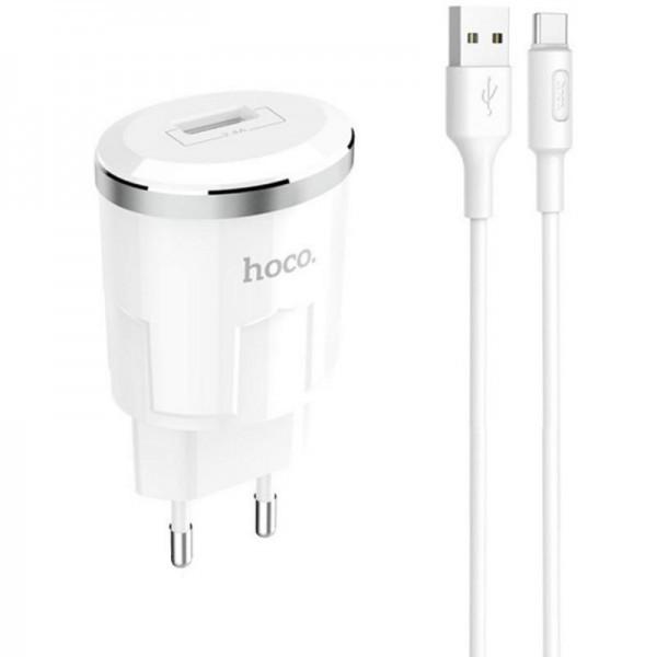 Мережевий зарядний пристрій 1USB Hoco C37A White + USB Cable Type-C (2.4 A)