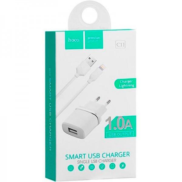 Мережевий зарядний пристрій 1USB Hoco C11 White + USB Cable iPhone 6 (1A)