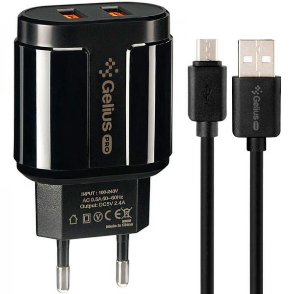 Мережевий зарядний пристрій Gelius Pro Avangard GP-HC06 2USB 2.4 A + Cable MicroUSB Black