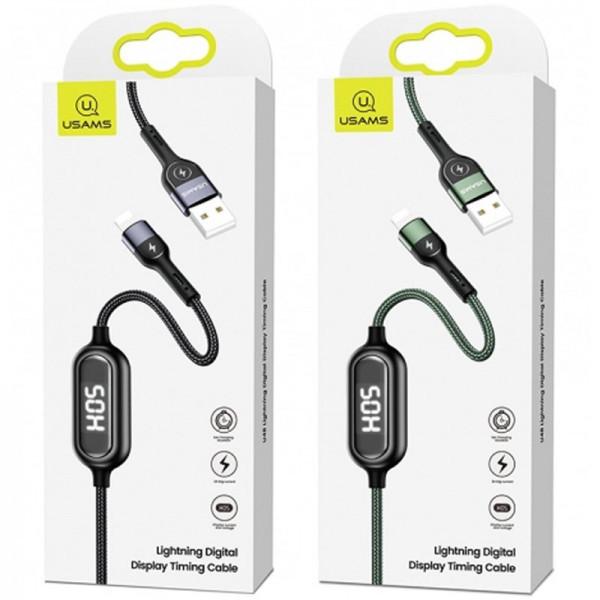 Кабель USB (тато) = Lightning (тато) 1.2 м Usams US-SJ423 Timing Digital Dispaly U48 Black