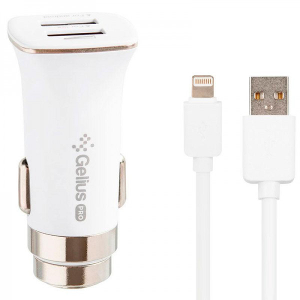 Автомобільний зарядний пристрій Gelius Pro Apollo GP-CC01 2USB 3.1A + Cable iPhone X White