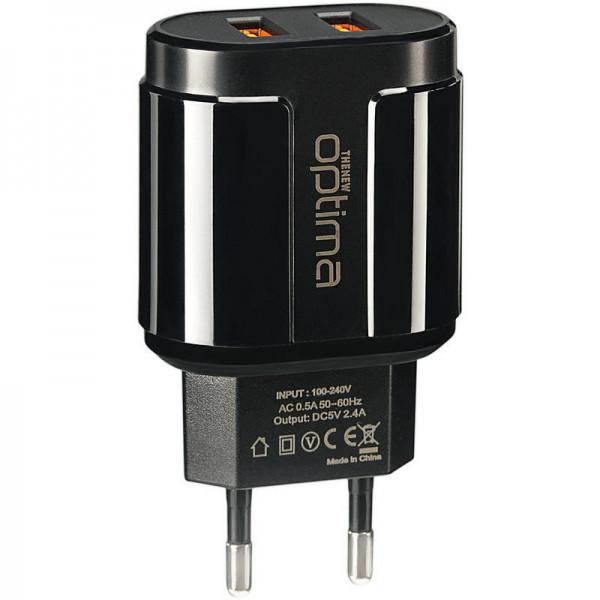 Мережевий зарядний пристрій Optima Avangard OP-HC02 2USB 2.4 A + Cable iPhone X Black