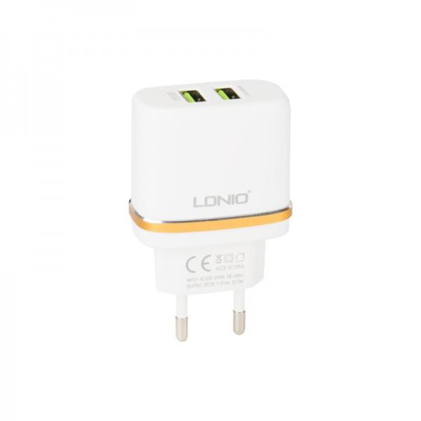 Мережевий зарядний пристрій 2USB LDNIO (2.4A) White + USB Cable iPhone 5 (DL-AC52)