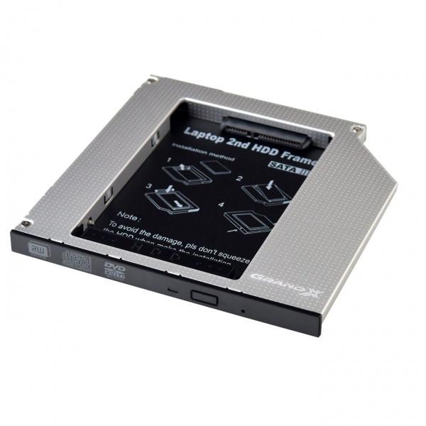 Адаптер Grand-X для підключення HDD 2.5 у відділ приводу ноутбука SATA/SATA3 12.7 мм (HDC-25N)