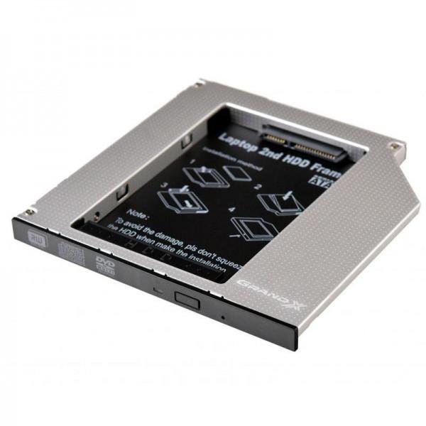 Адаптер Grand-X для підключення HDD 2.5 в відділ приводу ноутбука SATA/SATA3 Slim 9.5мм (HDC-24N)