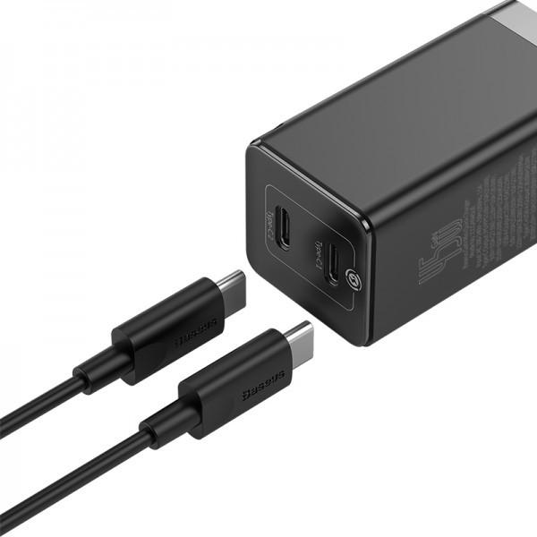 Адаптер мережевий 2xType-C Baseus GaN2 Q. Charger C+C 45W + Mini Cable Type-C toType-C 60W Black