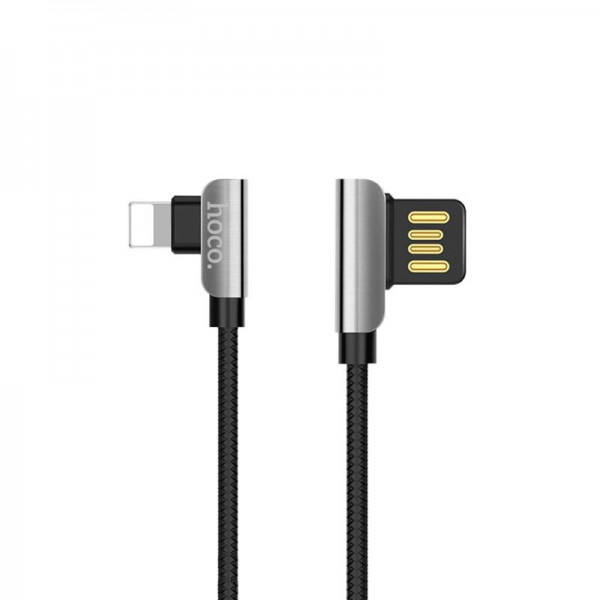 Кабель USB (тато) = Lightning (тато) 1.2 м Hoco U42 Exquisite Steel (L Shape) Black