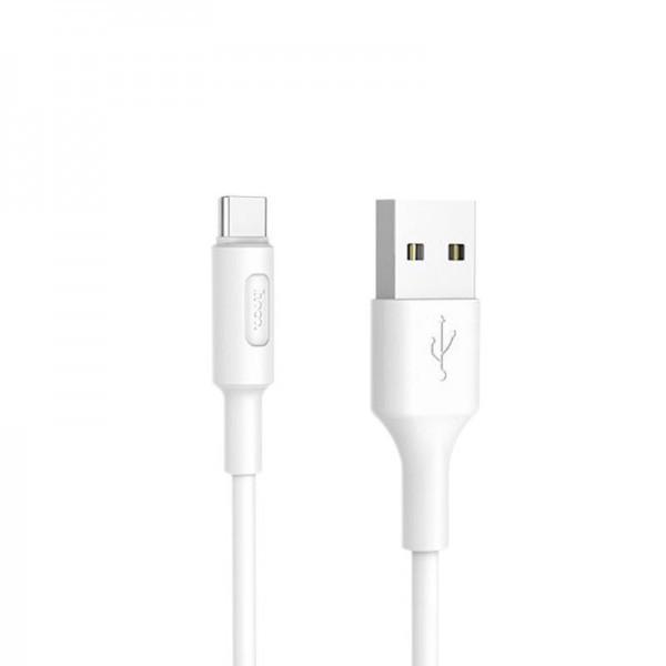 Кабель USB (тато) = USB type C (тато) 1м Hoco X25 Soarer White