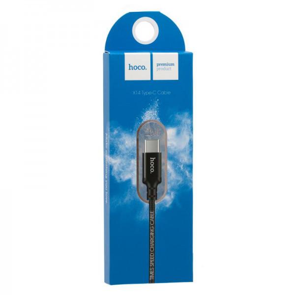 Кабель USB (папа) = USB type C (папа) 2м Hoco X14 Times Speed Black