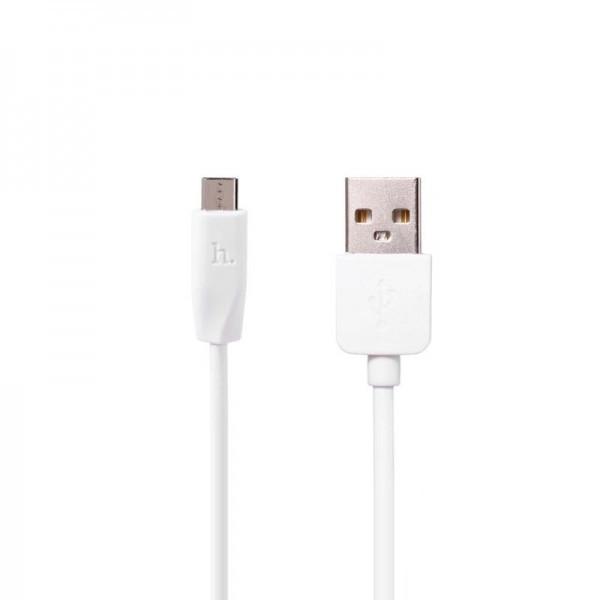 Кабель USB (папа) = microUSB (папа) 2м Hoco X1 Rapid White
