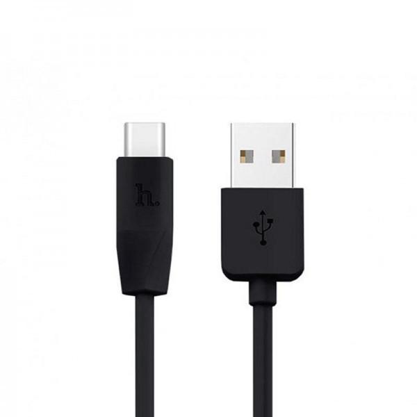 Кабель USB (папа) = USB type C (папа) 1м Hoco X1 Rapid Black