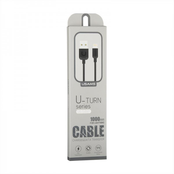 Кабель USB (папа) = Lightning (папа) 1м Usams US-SJ097 Cable-U Turn Series Black