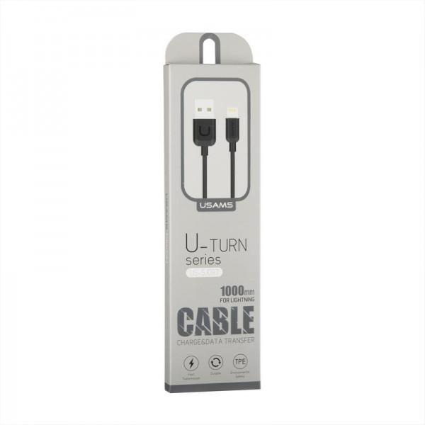 Кабель USB (тато) = Lightning (тато) 1м Usams US-SJ097 Cable-U Turn Series Black