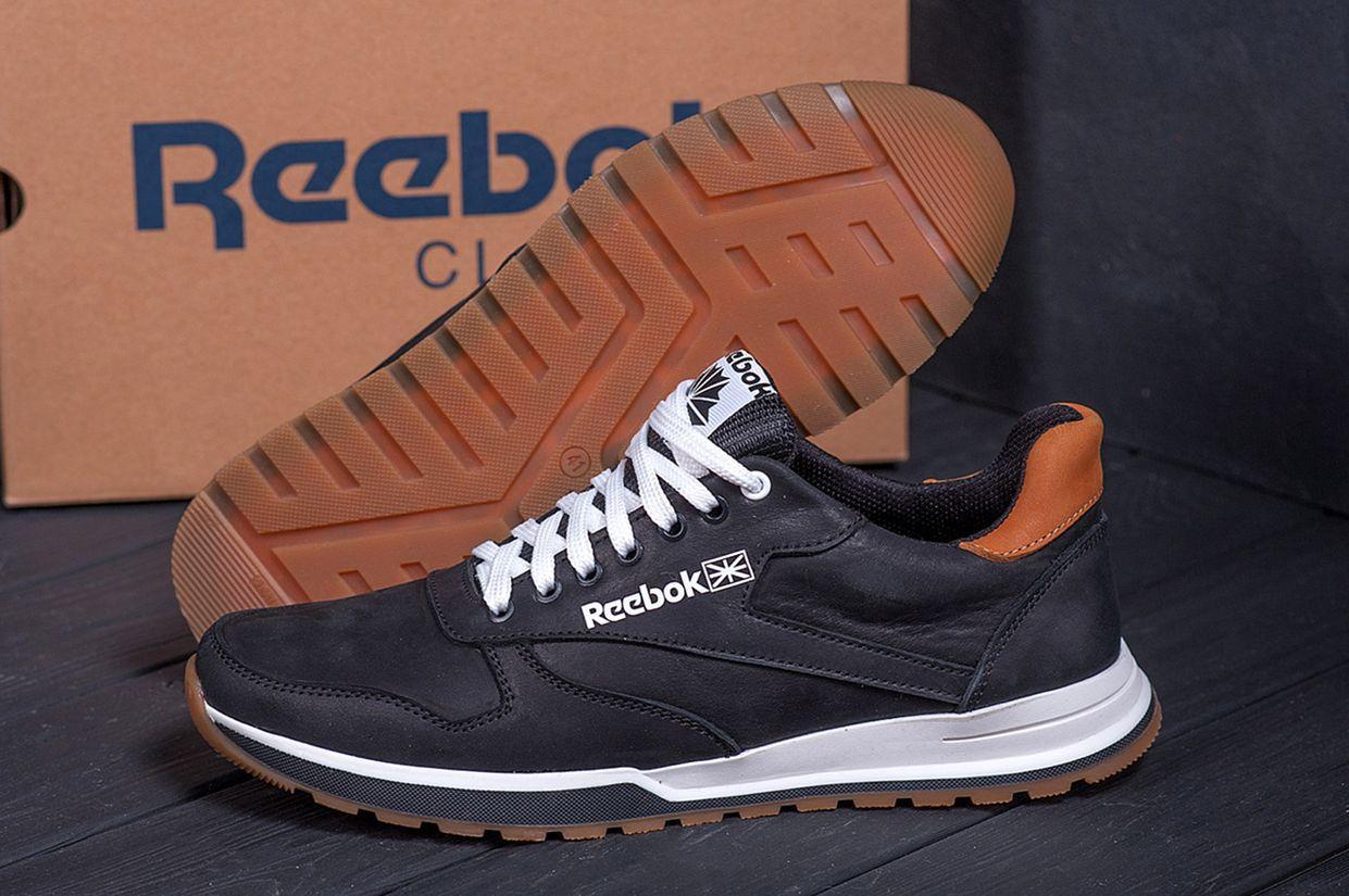 Чоловічі чорні шкіряні кросівки reebok