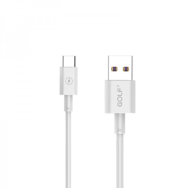 Кабель USB (папа) = USB type C (папа) Golf High Speed 5A White (GC-42t)
