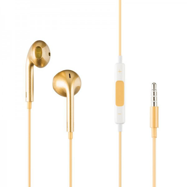 Навушники вкладиші провідні HF iPhone 5 Gold з регулятором гучності
