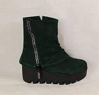Зимові черевики на тракторній підошві, зелений замш, фото 1
