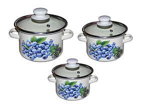 Набір емальованого посуду Idilia Лохина молочний 3 предмета 2л/3л/5,5 л (№752)