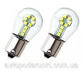Автомобильные LED лампы 16 диодов в колбе  БЕЛАЯ в ЗАДНИЙ ход, ДХО, ПОВОРОТ СТОП - ЯРКАЯ с цоколем 1156