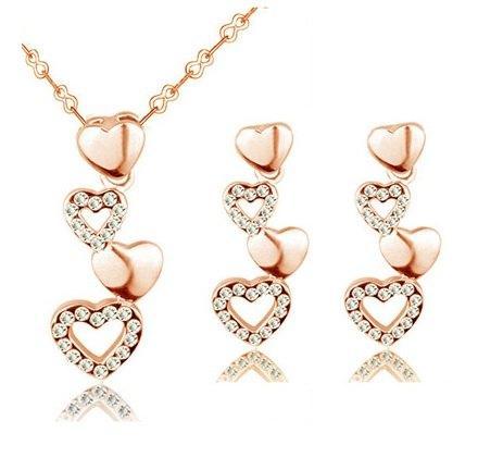 Набір прикрас - позолочені сережки і кулон серце Лія