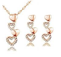 Набір прикрас - позолочені сережки і кулон серце Лія, фото 1
