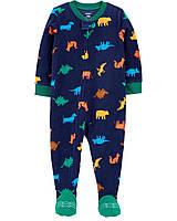 Флисовый человечек слип поддева для мальчика Carters Синий с динозаврами