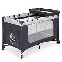 Манеж 3в1: кровать, пеленальный столик - складной, дверца на молнии, матрасик 123х77х64см - El Camino Stars