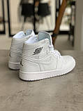 Кроссовки Nike Air Jordan 1 Retro White Найк Аир Джордан 1 Ретро Белые (36,37,38,39,40), фото 3