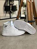 Кроссовки Nike Air Jordan 1 Retro White Найк Аир Джордан 1 Ретро Белые (36,37,38,39,40), фото 5