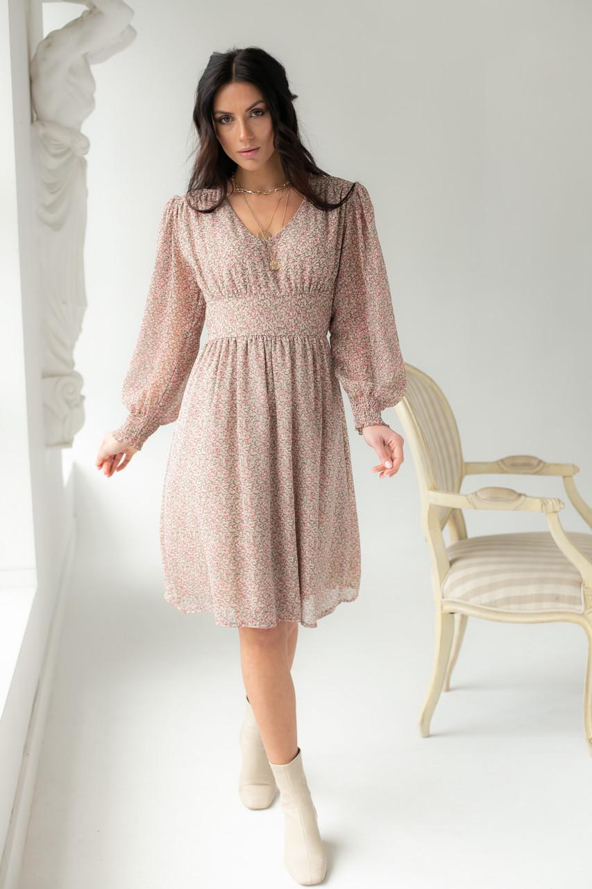 Платье миди с цветочным узором Delvinss - бежевый цвет, M (есть размеры) L
