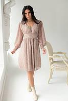 Платье миди с цветочным узором Delvinss - бежевый цвет, M (есть размеры) L, фото 1